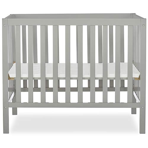Dream On Me Edgewood 4in1 Convertible Mini Crib in Cool Grey
