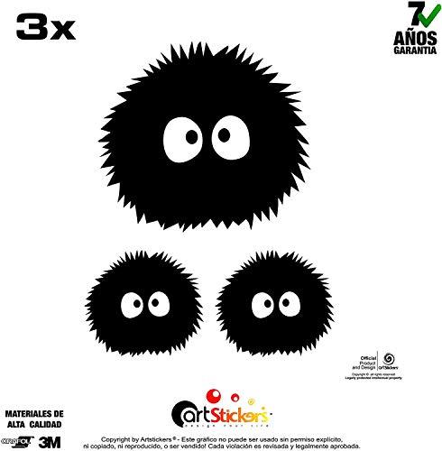 Artstickers Pegatinas diseño de Duende de Polvo de Mi Vecino Totoro, Adhesivo Vinilo, 3 Unidades (1und. 10 x 10 cm, 2und. 6 x 6 cm) Regalo Adhesivo Spilart, Marca Registrada