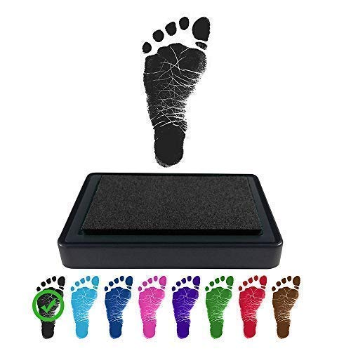REIGNDROP Ink Pad for Baby Footprint, Handprint, Create Impressive Keepsake Stamp, Non-Toxic and Acid-Free Ink, Easy to Wipe and Wash Off Skin, Smudge Proof, Long Lasting Keepsakes (Black)