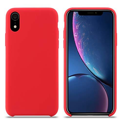 Funda iPhone XR, Carcasa Silicona iPhone XR, Líquido Silicona Gel Caucho A Prueba de Golpes con Suave Almohadilla de Forro de Tela de Microfibra para el Apple iPhone XR. (XR 6.1'', Rojo)