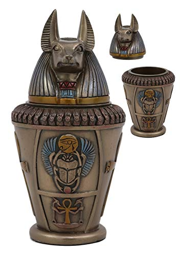 "Ebros Ancient Egyptian Gods and Deities Duamutef Canopic Jar Statue 5.75"" H Four Sons of Horus with Winged Scarab and Ankh Base Figurine Storage Box Kingdom Egypt Collectible Decor Sculpture Replica"