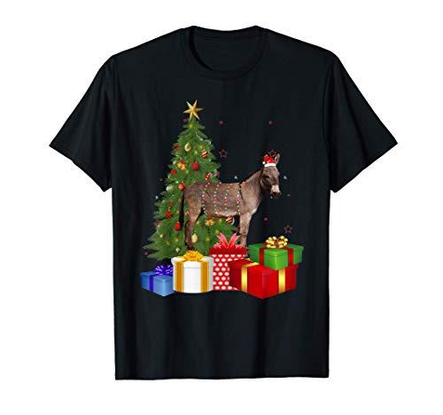 Santa Donkey Christmas Tree With Light Funny Xmas Donkey T-Shirt
