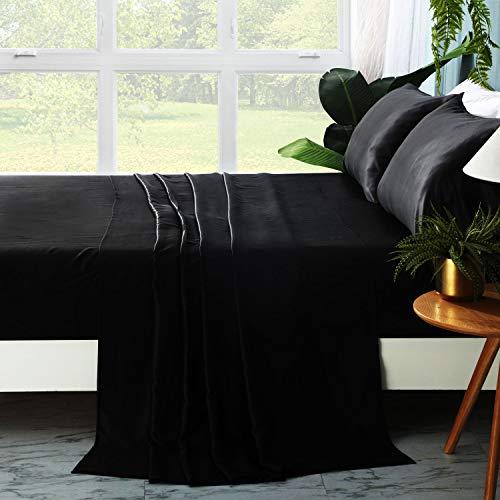 ZIMASILK 4 Pcs 100% Mulberry Silk Bed Sheet Set ,All Side 19 Momme Silk (King, Black)