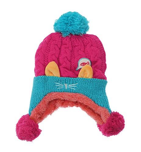 FEOYA Bonnet Hiver Bébé Fille Garçon Bonnet Bébé Tricot Chapeau Crochet Animal Bonnet à Pompon Peluche Intérieur Chaud Earflap Bébé Cadeau Anniversaire pour Bébé 6-24 Mois