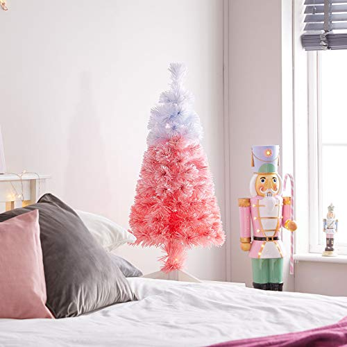 The Winter Workshop - 3ft / 90cm Fibre Optic Artificial Christmas Tree - 90 White Fade To Pink Branch Tips & 18 Red & White LED's