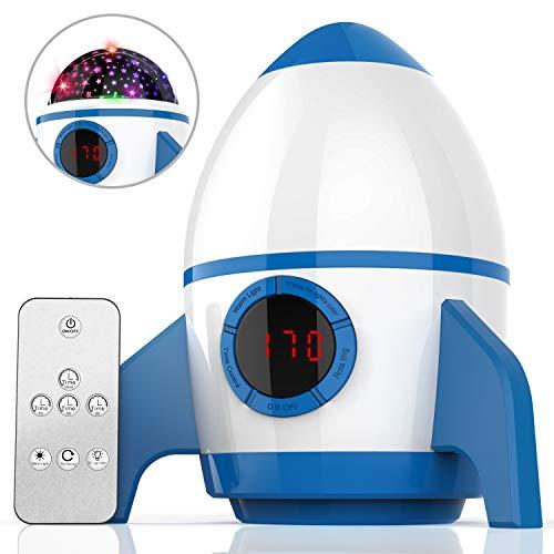 Amouhom Sternenhimmel Projektor, LED Raketenform Baby Lampe mit Fernbedienung Kinder Nachtlicht 360°Rotation und Timing Schlaflicht Geschenke für Kinder/Frauen/Freunde(Blau und Weiß)