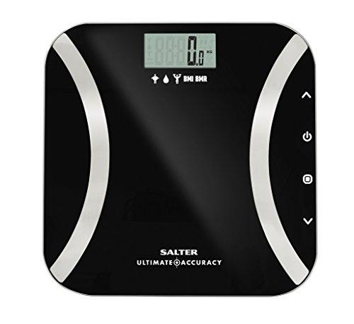 SALTER Ultimate digitale Personenwaage, Extrem Präzise, Körpermasse, Körperfett, Wasseranteil, BMI und BMR, 50g Schritte, Präzise Gewichtskontrolle, Benutzerspeicher, Kg, St, LB