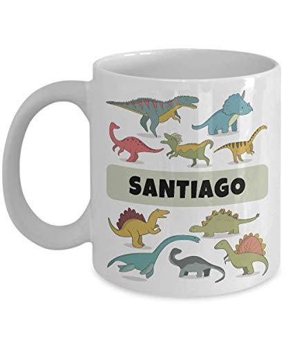 N\A Taza con Nombre Personalizado de Santiago con Lindos Dinosaurios para niños - Taza de café Personalizada de cerámica Blanca Semperly, Taza de té - para niños