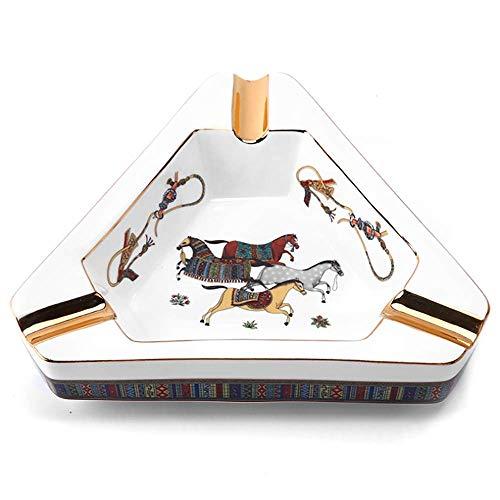 LJHLJH Cenicero para Puros Caballo de cerámica Dibujo en Color Teng Xiu Accesorios para Fumar cigarros Laterales Caja de Regalo de 3 Ranuras Embalaje Adecuado como Regalo Delicado