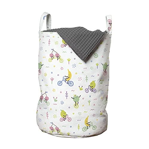 ABAKUHAUS Dibujos animados Bolsa de lavandería, Frutas caprichosas en las bicis, Cesta con asas Cierre de cordón para las lavanderías, 33 x 33 x 49 cm, blanco Multicolor
