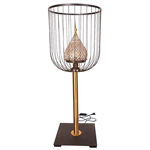 Lámpara de mesa LED, lámpara de pie oriental del sudeste asiático, lámpara decorativa de color amarillo de la creativa Birdcage de la sala de estar, lámpara de mesa vertical de restaurante