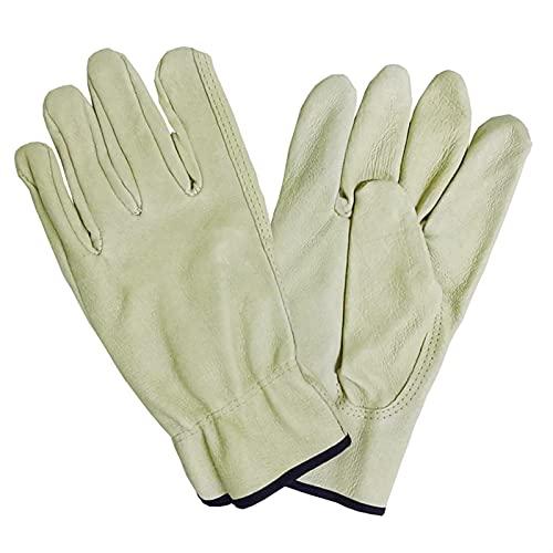 Gants en Cuir de Peau de Porc Hommes de qualité BC Sécurité Sécurité Mécanique Réparation Gants de Jardinage (Color : Light Yellow, Size : XL)