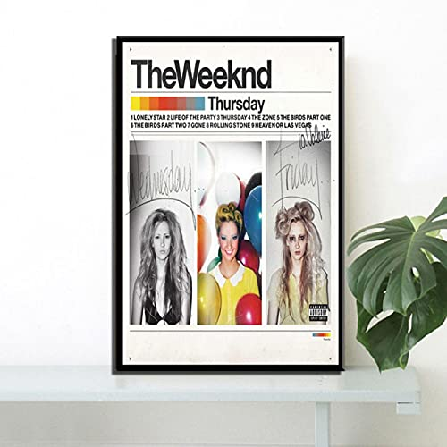Yiwuyishi Poster Prints The Weeknd Starboy R&B Home Balloons Rap Music Oil Painting Canvas Wall Living Room Home Decor 50x70cm(19.68x27.55 in) P-956