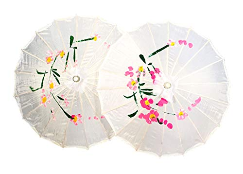 TJ Global PACK OF 2 Japanese Chinese Kids Size 22' Umbrella Parasol For Wedding Parties, Photography, Costumes, Cosplay, Decoration And Other Events - 2 Umbrellas (White)