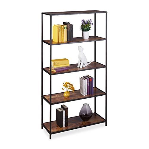 Relaxdays Boekenkast Vintage 5 planken, industrieel kantoor, woonkamer, staand rek in HBT 150x77x33 cm, houtlook/zwart, 1 stuk