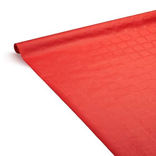 Le Nappage - Nappe de Table en Papier Damassé Rouge - Nappe Déperlante - Recyclable et Biodégradable - Nappe Papier Rouge en Rouleau de 1,18 x 6 Mètres