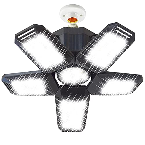 80W LED Garage Lights, Deformable Garage Light with 3 Adjustable Wings, 8000LM, E26 LED Shop Light, Barn Light, High Bay Light, Ceiling Lighting Fixture for Warehouse (NO Motion Sensor)