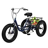 Fat Tire Snow Bike Adult Tricycles Three Wheel Cruiser Bike - 7 Speed 24in Wheel Adjustable Seat Retro Bicycle with Baskets Comfortable Commuter Bicycle for Leisure Picnics & Shopping