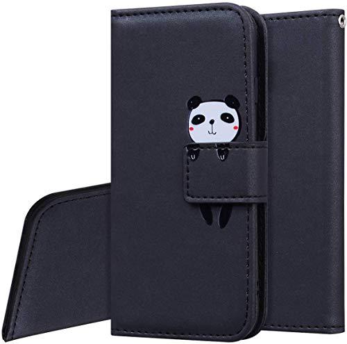 QPOLLY Kompatibel mit Huawei P30 Lite Hülle Klappbar Ledertasche,Cartoon Tiere Muster PU Leder Handytasche Ständer Brieftasche Handyhülle für Huawei P30 Lite mit Kartenhalter,Schwarz