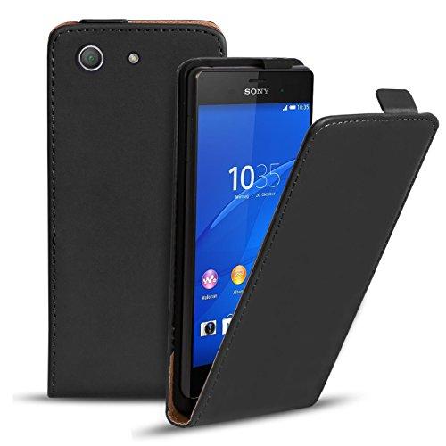 Conie Hülle für Sony Xperia Z3 Compact Flip Case, Klapphülle Schwarz, PU Leather Case, Premium Handy Schutz Hülle aus PU Leder, für Sony Xperia Z3 Compact (4.6