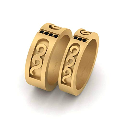 Juego de anillos de aniversario de diamantes negros para él y su pareja de bandas de oro amarillo Fn 925 plata de ley