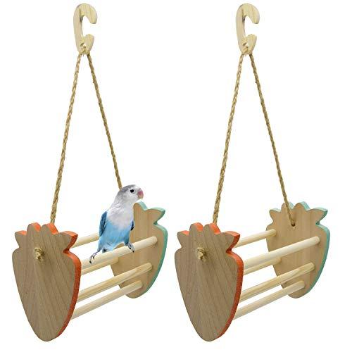 Weiqiao Juguetes para masticar de madera, columpio, accesorio de ocio, juegos creativos para loros, loros, loros, pájaros