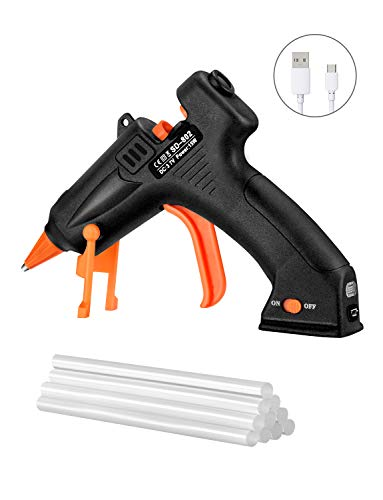 TOPELEK Cordless Hot Glue Gun Kit, 15W Mini Glue Gun with 10Pcs Glue Sticks, USB Charging Hot Melt...
