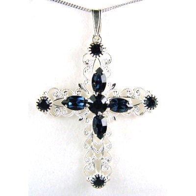 Crystal World Sterling Silber Montana Kreuz Anhänger mit Swarovski Kristallen besetzt