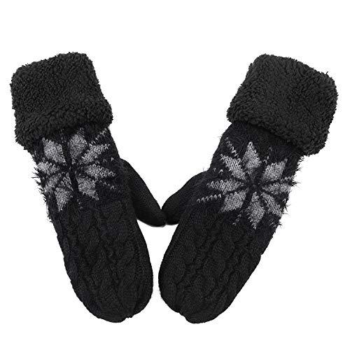 Guanti invernali da donna caldi a maglia, guanti da sci, snowboard, guanti in pile, foderati con dita intere, scaldamani per sport all'aria aperta Nero Taglia unica