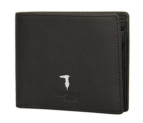 Trussardi Jeans Portafoglio uomo pelle articolo 71W00004 2P000181 WALLET CREDIT CARD COIN POCKET TUMBLED - cm.12x9,5, K299 Nero - Black, UNICA - ONE SIZE