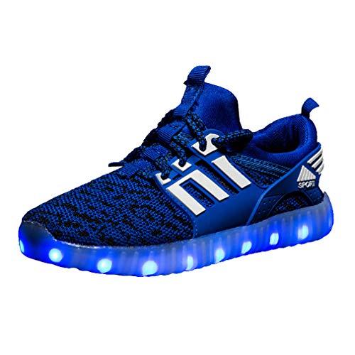 Hongxin Kinderschuhe mit Licht, Sport Freizeitschuhe LED Leuchtende Blinkende Turnschuhe Atmungsaktiv Bequem Schulung Schuhe, USB Lade Schuhe für Jungen Mädchen Kleines Kind Großes Kind (25-37)