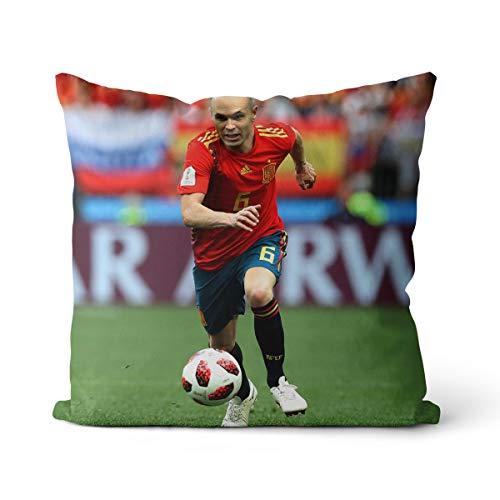 Funda de cojín de Andres Iniesta con impresión 3D de jugador de fútbol, funda de cojín de algodón y lino, cuadrada, OR1029, 45 x 45 cm