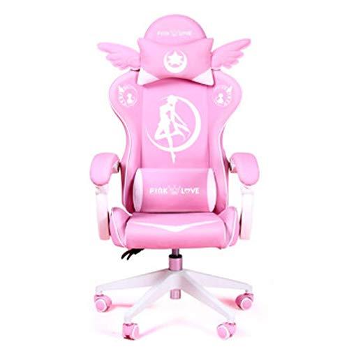 Sedia da gioco ergonomica rosa Carino Kawaii Style Office Chair PU Leather High Back Racing Computer Chair