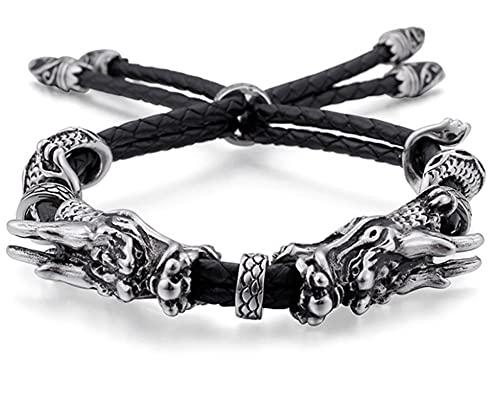 CHXISHOP Pulsera de doble cabeza de dragón de acero inoxidable trenzado pulsera de cuero para hombres y mujeres