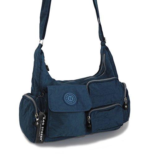 Bag Street borsone da viaggio borsa a tracolla Bodybag wandertasche Crinkle Nylon-präsentiert von ZMOKA® in diversi stili Colori, Blau (blu) - 0