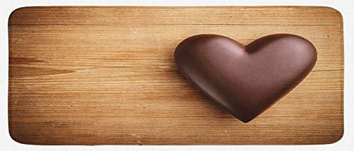 HARXISE Tappeto Antiscivolo,Cioccolato, Cuore di Cioccolato sullo Sfondo di tavola di Legno per San, Marrone Sabbia Marrone Scuro,da Usare Come zerbino o per Soggiorno,Camera da Letto,corridoio