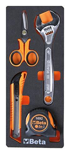 Beta M292 Herramientas variadas en módulo suave: 1 llave ajustable en carrete, 1 flexómetro profesional, 1 cúter con hoja de sectores y 1 tijeras de cuchillas rectas
