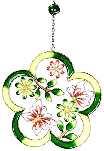 dekojohnson Moderne Deko für das Fenster-Hänger Dekohänger Glasbild Deko Tiffany Blume mit Schmetterling Grün 26cm