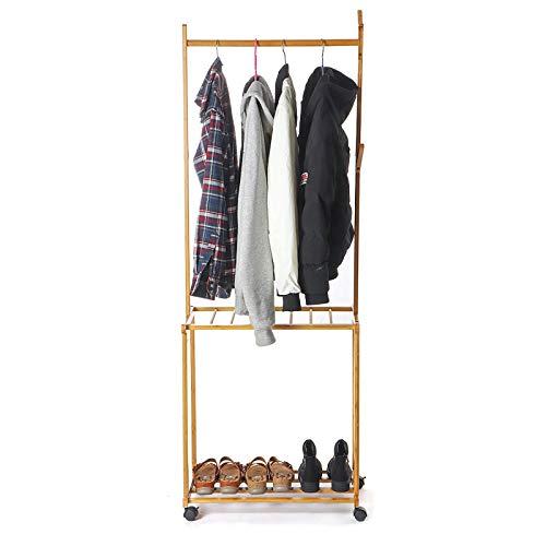 KQP Coat Rack Multifunctional Portable Coat Rack Bamboo Frame Shoe Shelf Corrosion Resisting Movable Floor Stand Multifunctional Clothes Storage Rack