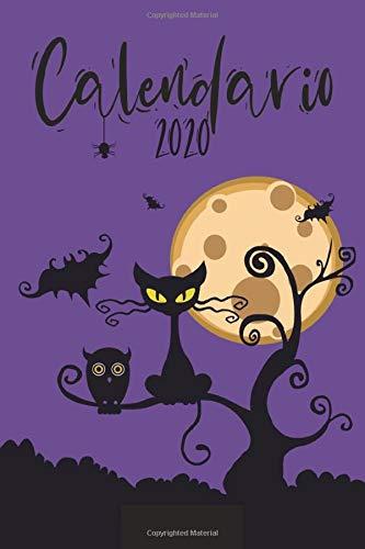 Calendario 2020: Grande Calendario completo per tutto l'anno, ogni giorno separatamente, planner mensile e giornaliero, notebook, Copertina viola di Halloween (420 siti, 6 x 9)