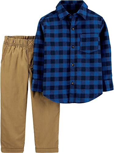 Carter's Baby Boys 2-pc. Navy Plaid Button Down Pants Set 24 Months Navy Blue/Brown