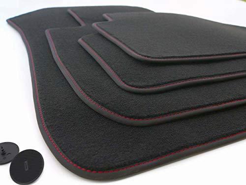 kh Teile Deluxe Fußmatten 3er E90 E91 (Steppnaht Rot) Original Velours Qualität Premium Automatten Tuning 4-teilig
