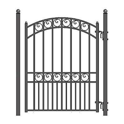 ALEKO PGMUN Munich Style Ornamental Galvanized Steel Pedestrian Security Gate 5 x 4 Feet Black