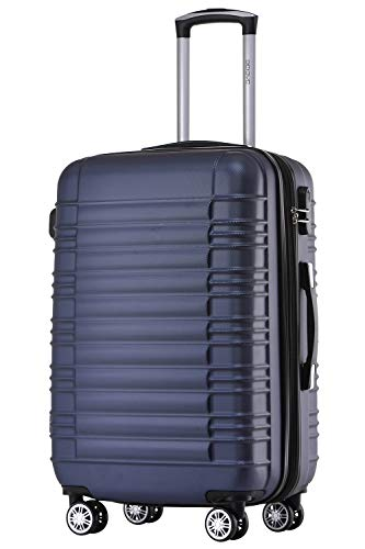 BEIBYE 2088 Zwillingsrollen Reisekoffer Koffer Trolleys Hartschale M-L-XL-Set (Dunkelblau, M)