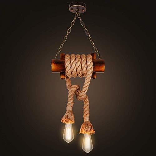 GaoF Luces Colgantes industriales, lámpara Colgante de Cuerda de cáñamo de Metal Industrial de 2 Luces, Accesorio de iluminación Colgante de Islas de Cocina Vintage, araña de cáñamo de Hierro Retro
