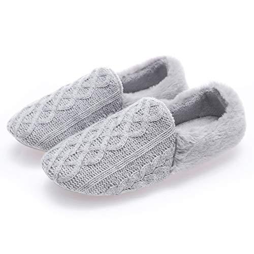 AONEGOLD Pantofole Donna Invernali Peluche Caldo Eleganti Pantofole da Ballerina Lavorato a Maglia Morbide Antiscivolo Piatte Scarpe(Grigio,Taglia 38-39)