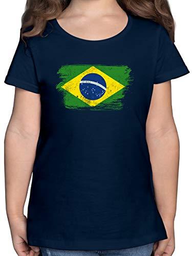 Fußball-Europameisterschaft 2021 Kinder - Brasilien Vintage - 140 (9/11 Jahre) - Dunkelblau - t-Shirt brasilien - F131K - Mädchen Kinder T-Shirt