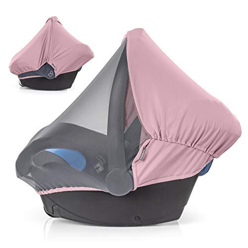 Zamboo Cubierta 3 en 1 para Grupo 0+ (se adapta a Maxi-Cosi/Cybex/Römer) | Toldo solar con Protección UV, Mosquitera y Funda de asiento (rosa palo)