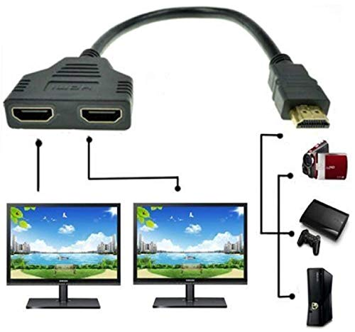 HDMI Port Male to Female 1 Input 2 Output Splitter Cable Adapter Converter 1080P Dual for HDTV for HDMI HD LED LCD TV Signal One in Two Out Black