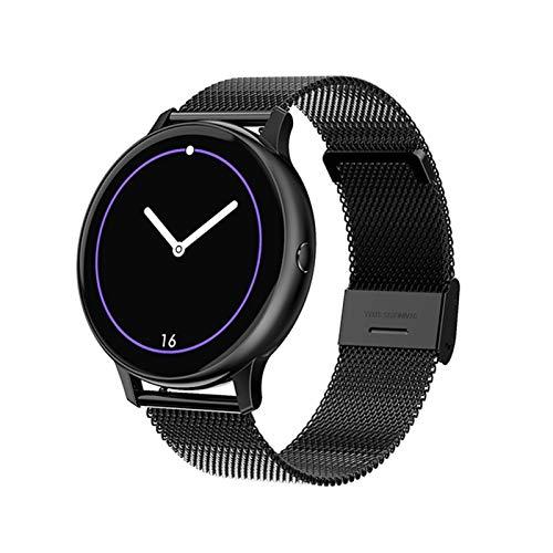 LXF JIAJU Nuevos Hombres Mujer Smart Watch 1.3'HD Bluetooth 5.0 ECG + PPG Monitor De Ritmo Cardíaco Smarth Tracker para iOS Android Smartwatch (Color : Mesh Black)